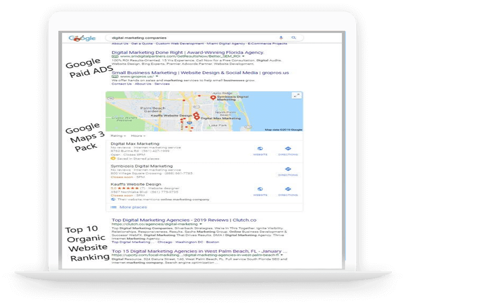 Google first page marketing on Laptop